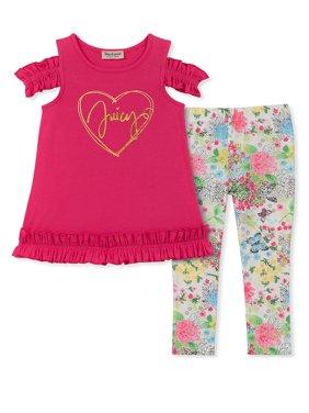 Little Girl's & Girl's 2-Piece Cold-Shoulder Top & Printed Leggings Set