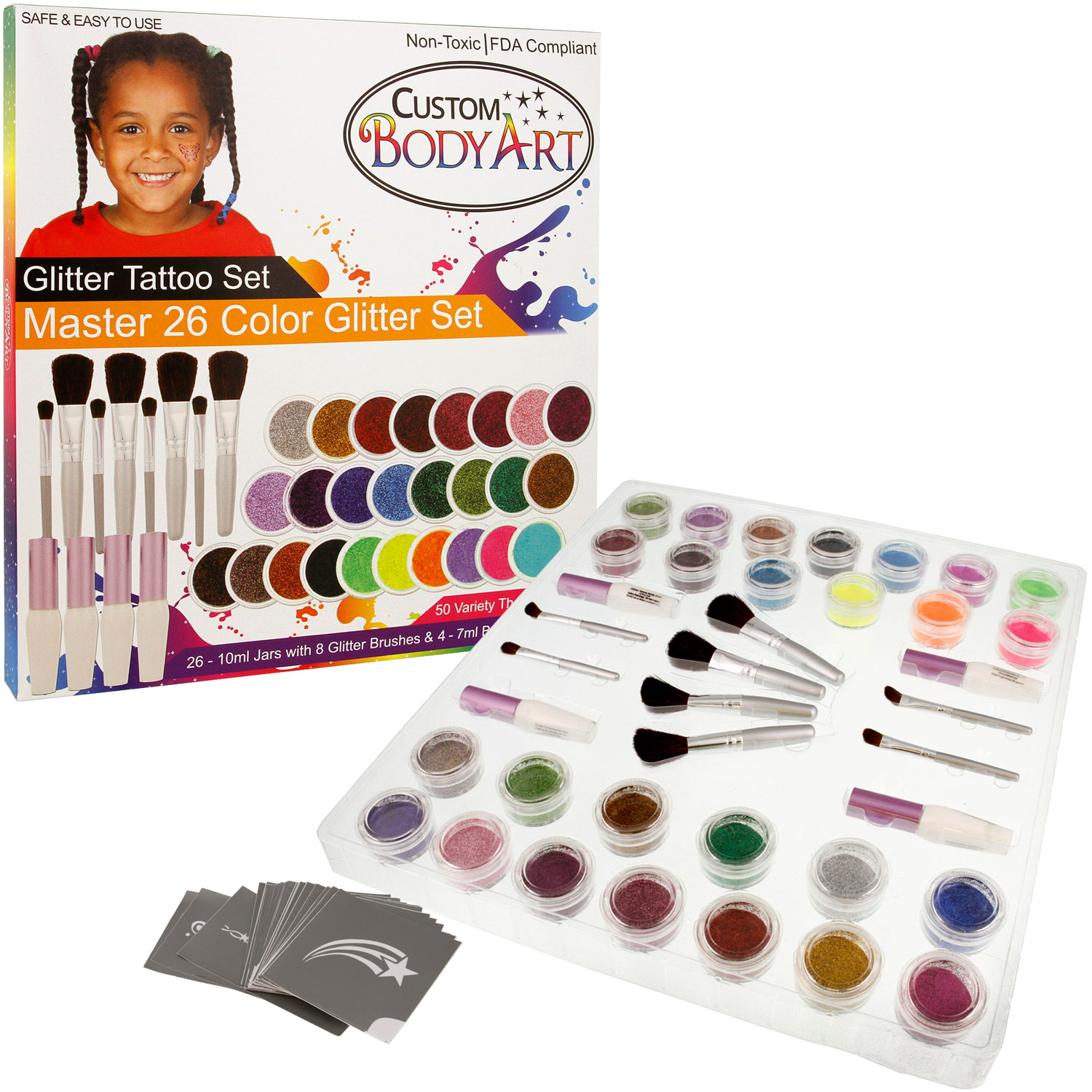 Custom Body Art - Master 26 Color Glitter Tattoo Set Kit 50 Stencil Designs Glue