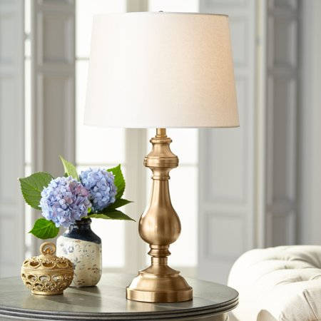 Regency Hill Traditional Table Lamp Antique Brass Candlestick White Fabric Drum Shade for Living Room Family Bedroom Bedside ()