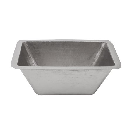 - Rectangle Hammered Copper Bathroom Sink in Electroless Nickel