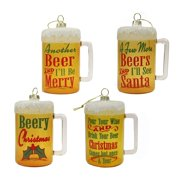 """Pack of 4 Yellow and Dark Red Glass Beer Mug Hanging Ornaments 4"""" by CC Christmas Decor"""