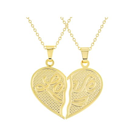 18k Gold Plated His Her Heart Love Couple Pendant Necklace 19