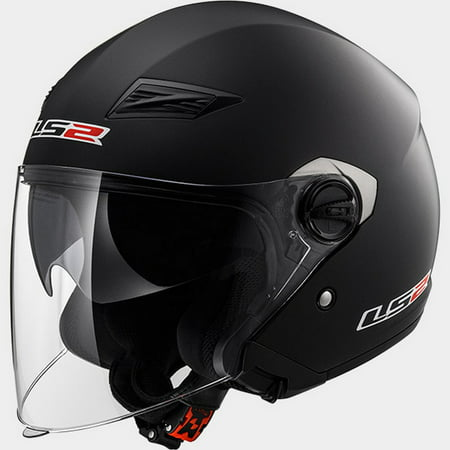 LS2 Track OF569 Solid Open Face Motorcycle Helmet Matte Black SM Rubber Sm Helmet