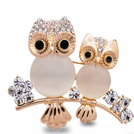 Women Double Owl Rhinestone Brooch Pin Girls Animal Alloy Crystal Breastpin Female Wedding Birthday