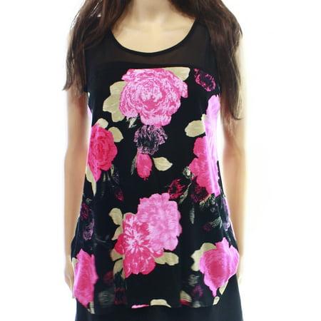 Floral Mesh Cami (INC NEW Pink Black Floral Print Women's Large L Tank Cami Mesh Top )