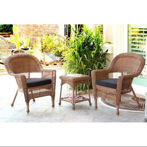 3-Piece Honey Wicker Patio Chairs and End Table Furniture Set - Black Cushions