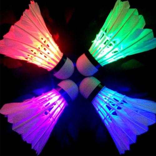 4PCS LED Badminton Set Shuttlecock Dark Night Glow Lighting Outdoor/Indoor Sports