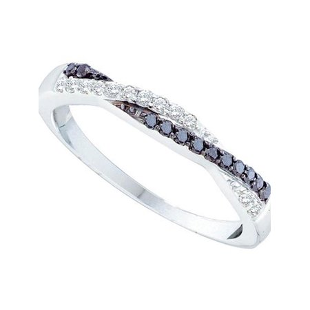 10kt White Gold Womens Round Black Color Enhanced Diamond Crossover Band Ring 1/4 Cttw - image 1 of 1