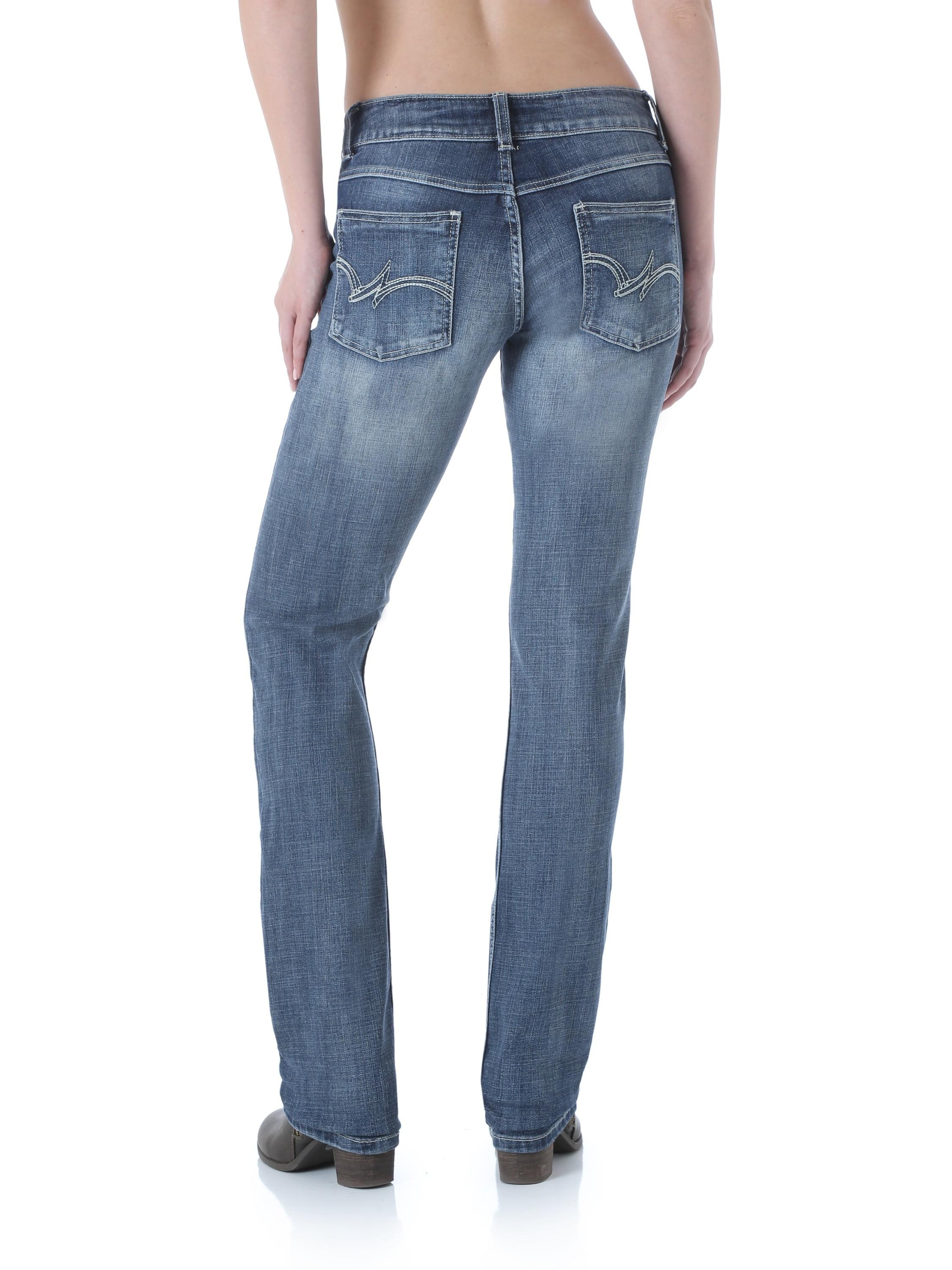 172630639d7 Wrangler - Wrangler Women's Dark Wash Stretch Mid Rise Straight Leg Jeans -  Walmart.com