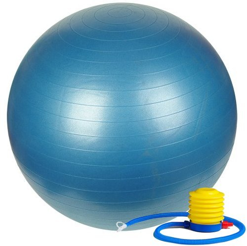 Fitness Sun 55cm Exercise Ball with Foot Pump Includes 1 Ball +1 Pump + 1 Page Instruction Chart No Dvd No -Exercise Gym... by
