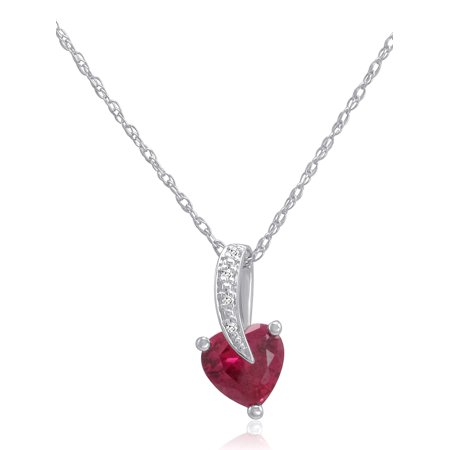 Lab Grown Ruby Heart and Natural Diamond Pendant-Necklace in Sterling Silver