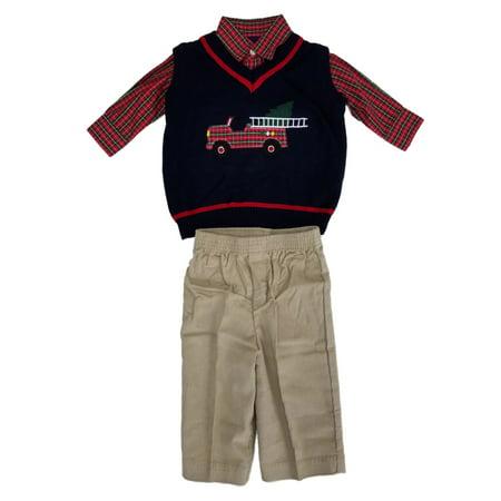 Infant Boys 3pc Holiday Dress Up Outfit Navy Vest Plaid Shirt & Corduroy Pants