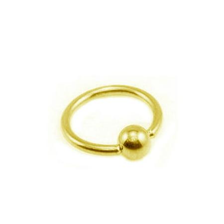 14k Gold Ball Closure Ring (14K Solid Yellow Gold Nipple Captive Ball Closure Bead Ring Body Jewelry 17mm)