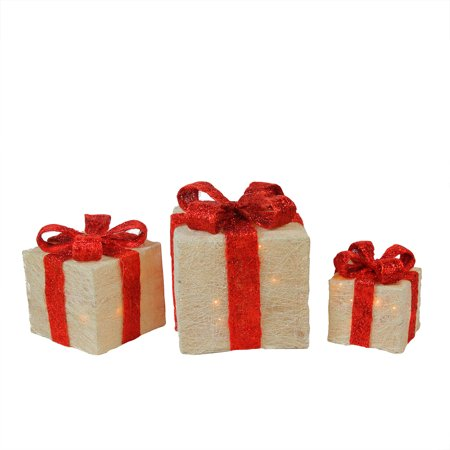 Set of 3 Lighted White and Red Sisal Gift Boxes Outdoor Christmas Decorations