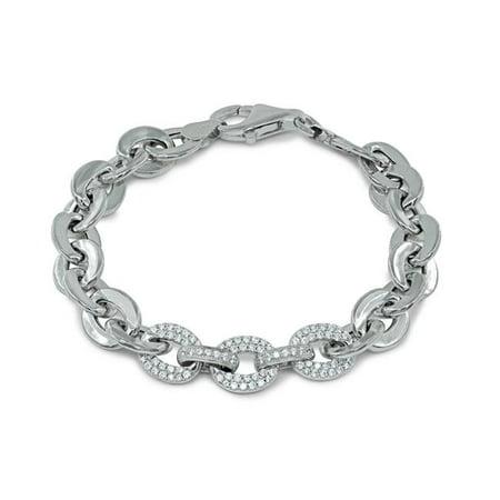 Fronay 122177 17 in. Designer Flat Bracelet Marine Links with Centered CZ Links - image 1 de 1