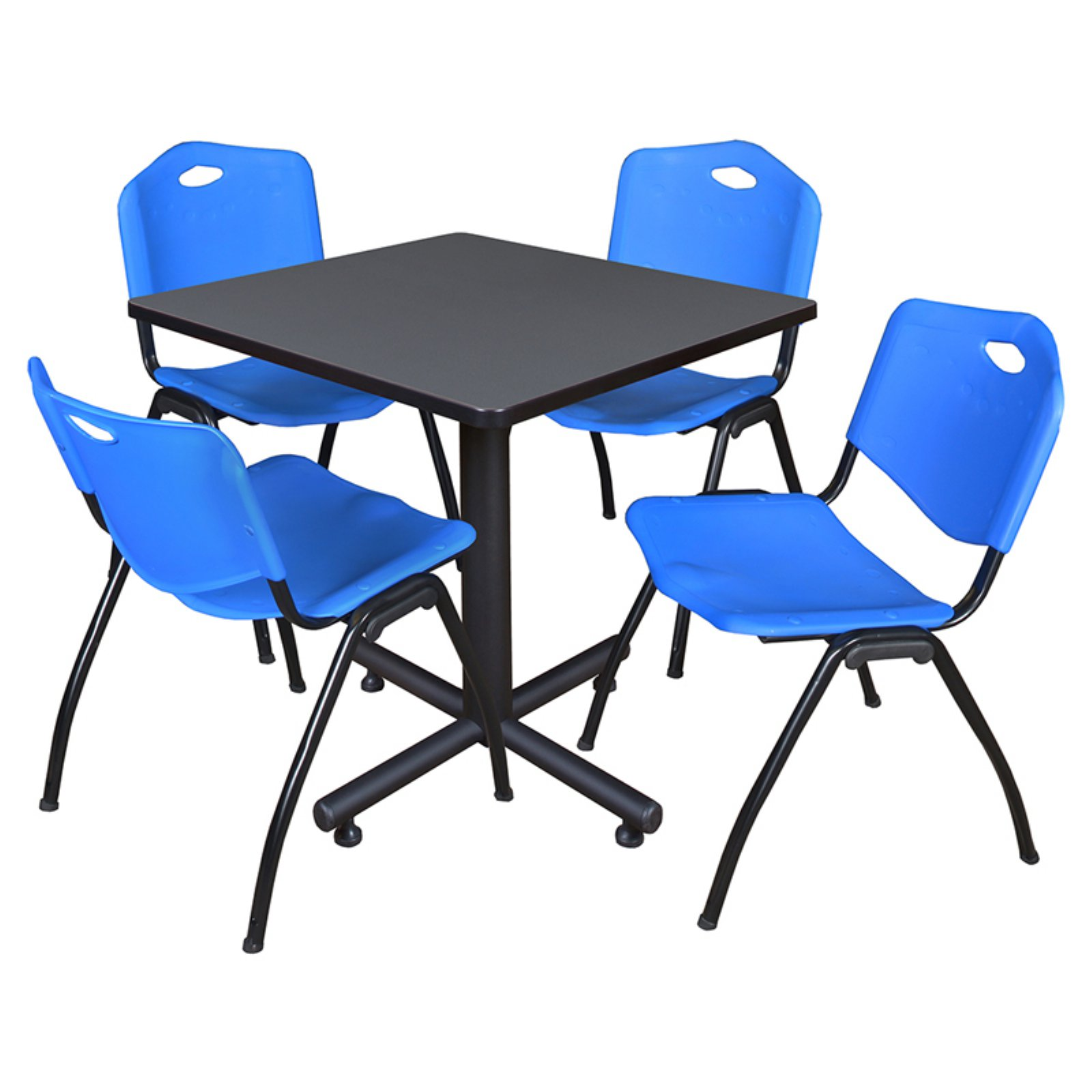 """Kobe 42"""" Grey Square Breakroom Table and 4 'M' Stack Chairs, Multiple Colors"""