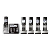 Panasonic KX-TGF375S - Cordless phone - answering system with caller ID/call waiting - DECT 6.0 - 3-way call capability - silver + 4 additional handsets