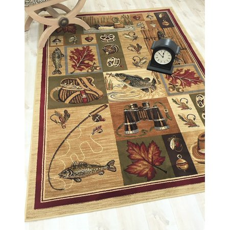 Hr Fishing And Hunting Equipment And Fish Cabin Area Rug