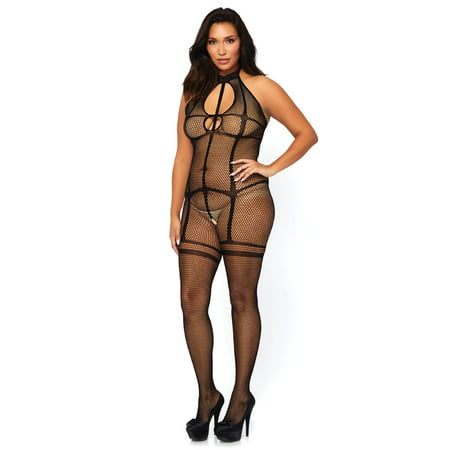 Leg Avenue Women's Fishnet Halter Bodystocking with Opaque Garter Illusion and Keyhole Cut Out, Black, Plus - Illusions Mansfield Halloween