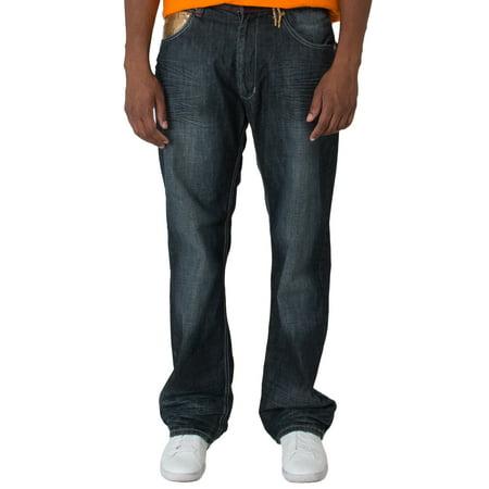 Blanco Label Men's Relax Fit Dark Washed Denim Jeans, Gold Trim Embellished Gold Stitched Bootcut Jeans