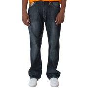 Blanco Label Men's Relax Fit Dark Washed Denim Jeans, Gold Trim Embellished