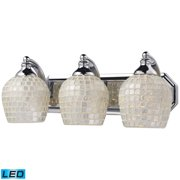 Mix-N-Match Vanity 3-Light Wall Lamp in Aged Bronze with Gold Leaf Glass