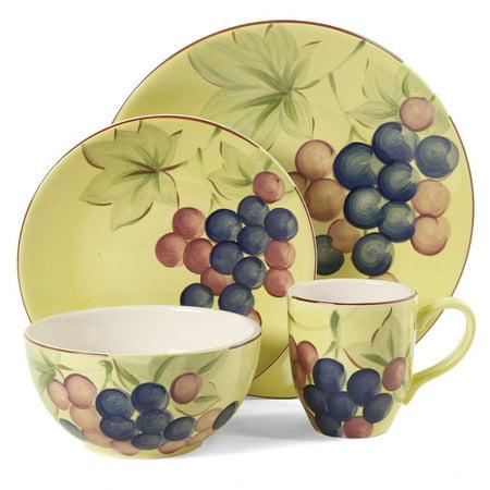 Gibson Home Fruitful Harvest Grapes 16pc Dinnerware Set - Walmart.com