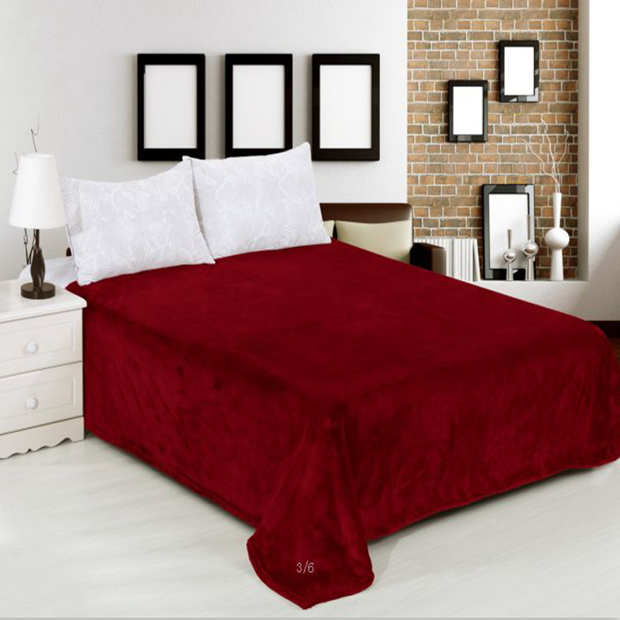 """Multi-Purpose Cozy Warm Flannel Fleece Throw Blanket for Bed Couch Soft Warm Bed Blanket (King 79"""" x 91"""", Solid Burgundy)"""
