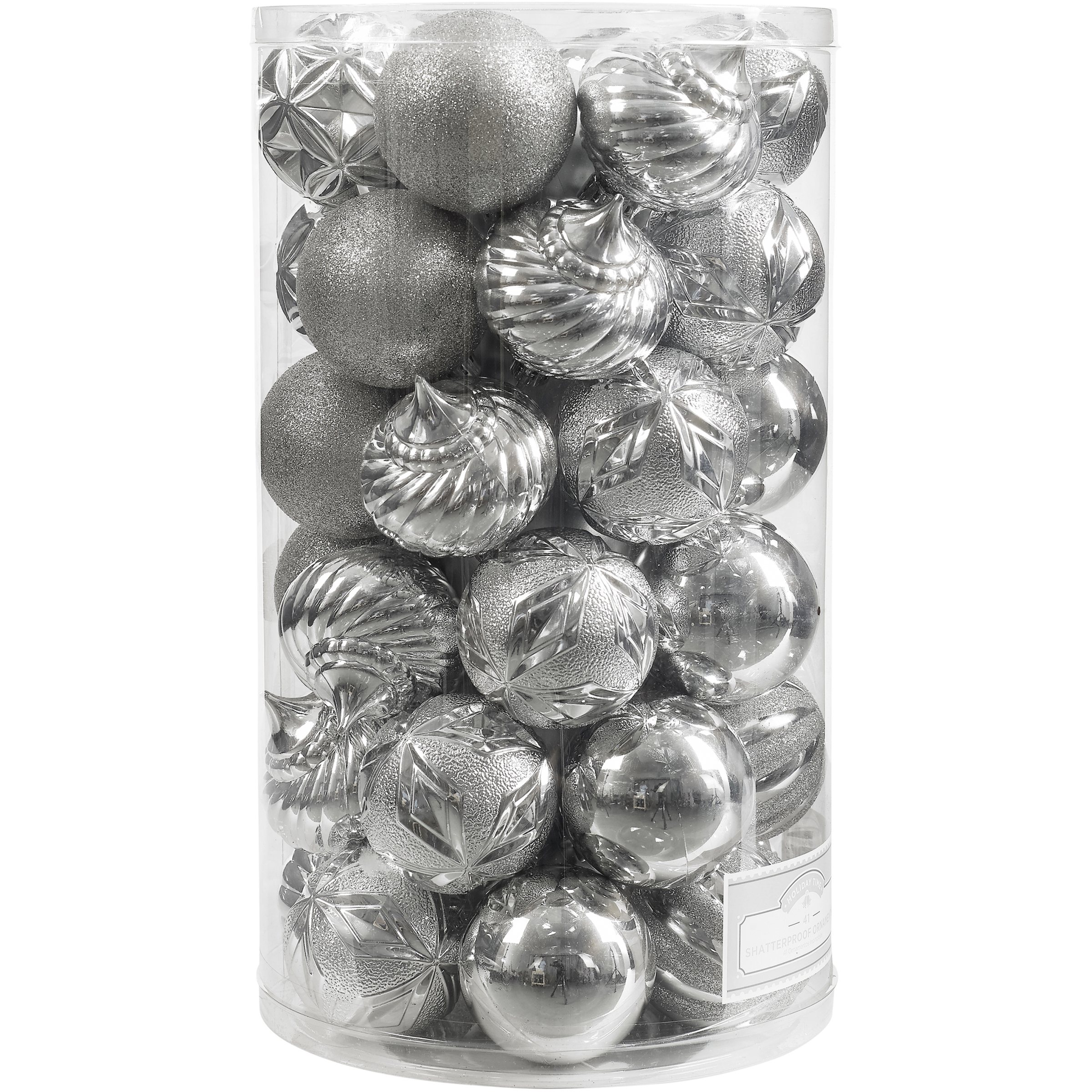 Holiday Time 41-Piece Shatterproof Ornament Set, Classic Silver