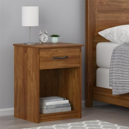 Mainstays Emery 1-Drawer Nightstand, Brown Oak ()