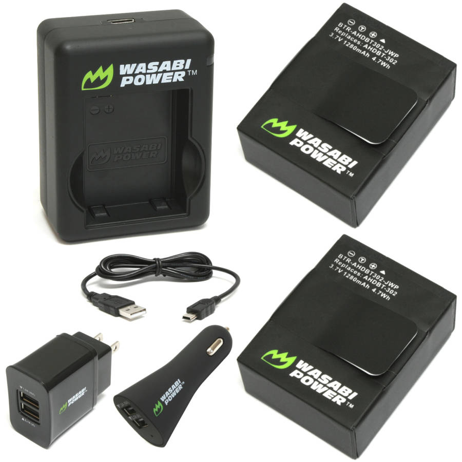 Wasabi Power Dual USB Charger and 2 Li-Poly Batteries with Car Adapter Kit (Compatible with GoPro HERO3/3 )