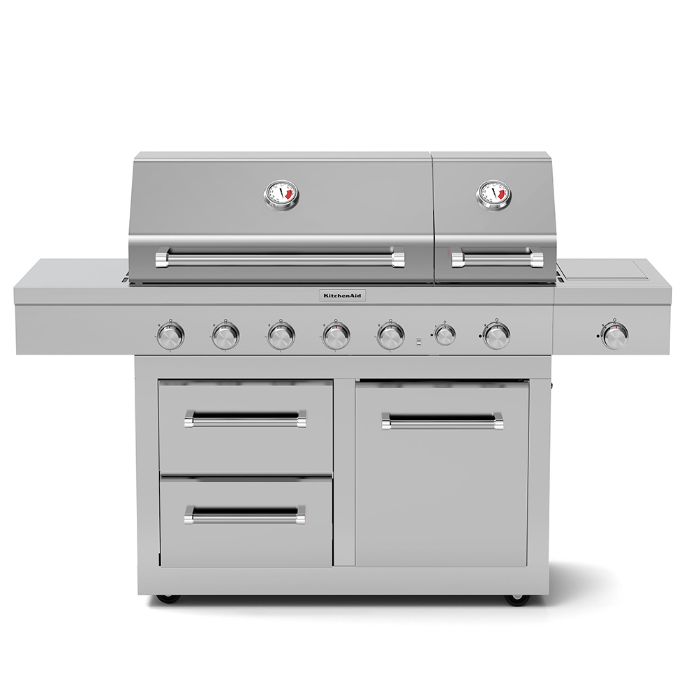 KitchenAid 5-Burner Dual Chamber Propane Gas Grill in ...