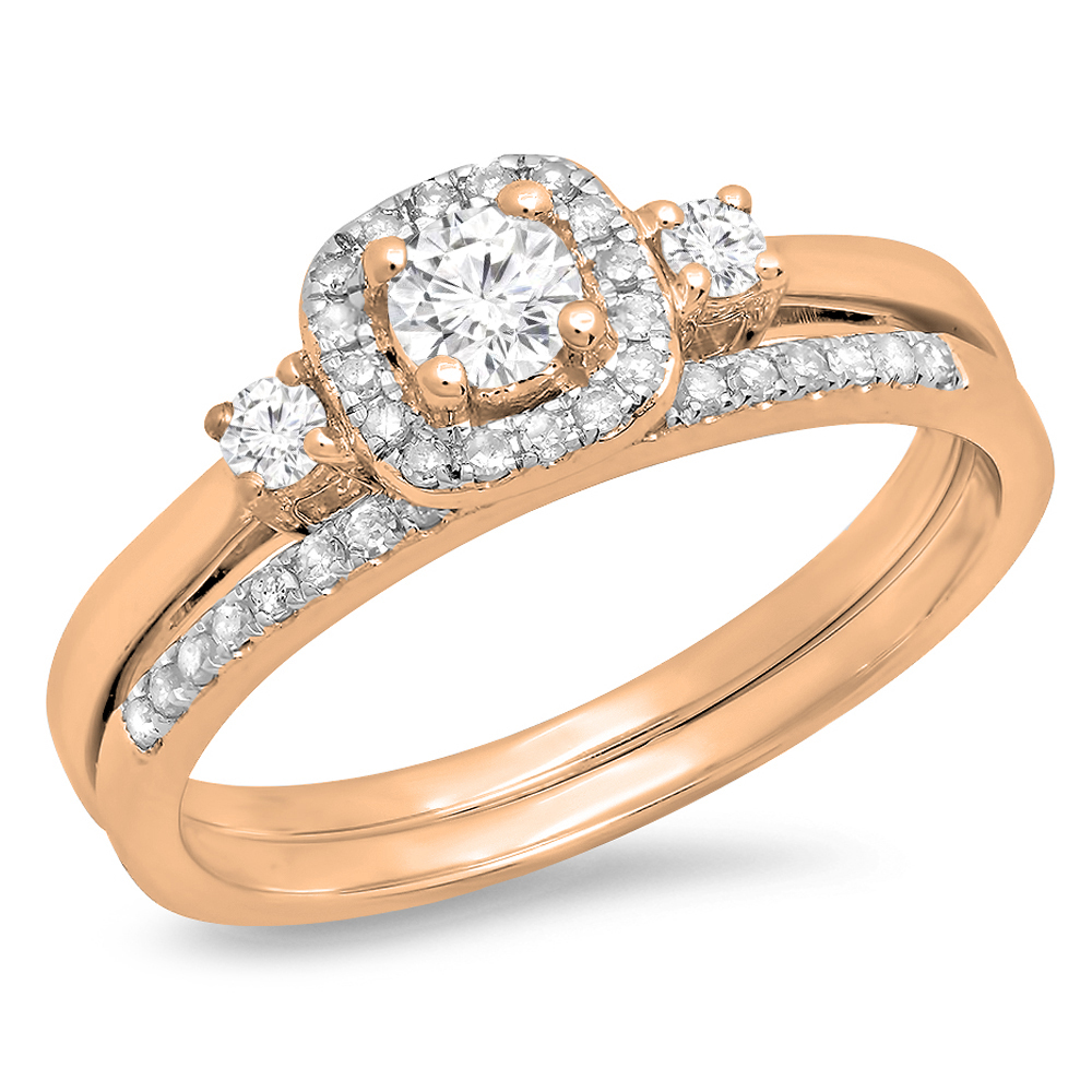 Dazzling Rock 0.45 Carat (Ctw) 10K Rose Gold Round White ...