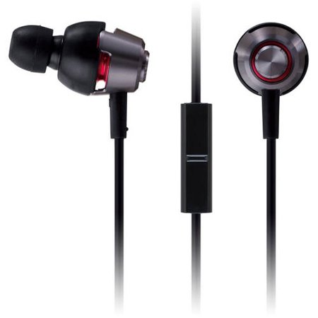 Panasonic drops360ᅡᄚLUXEᅡᆴ Premium In-Ear Headphones with Mic + Controller RP-HJX21M-K (Black and Silver) Powerful Bass, with Travel - Bass Management Controller