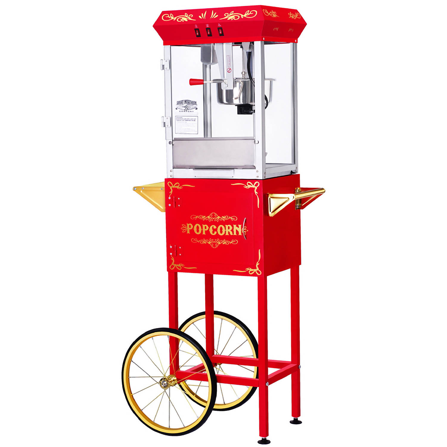 Great Northern Popcorn Red GNP-800 All-Star Popcorn Popper Machine and Cart, 8 Ounce