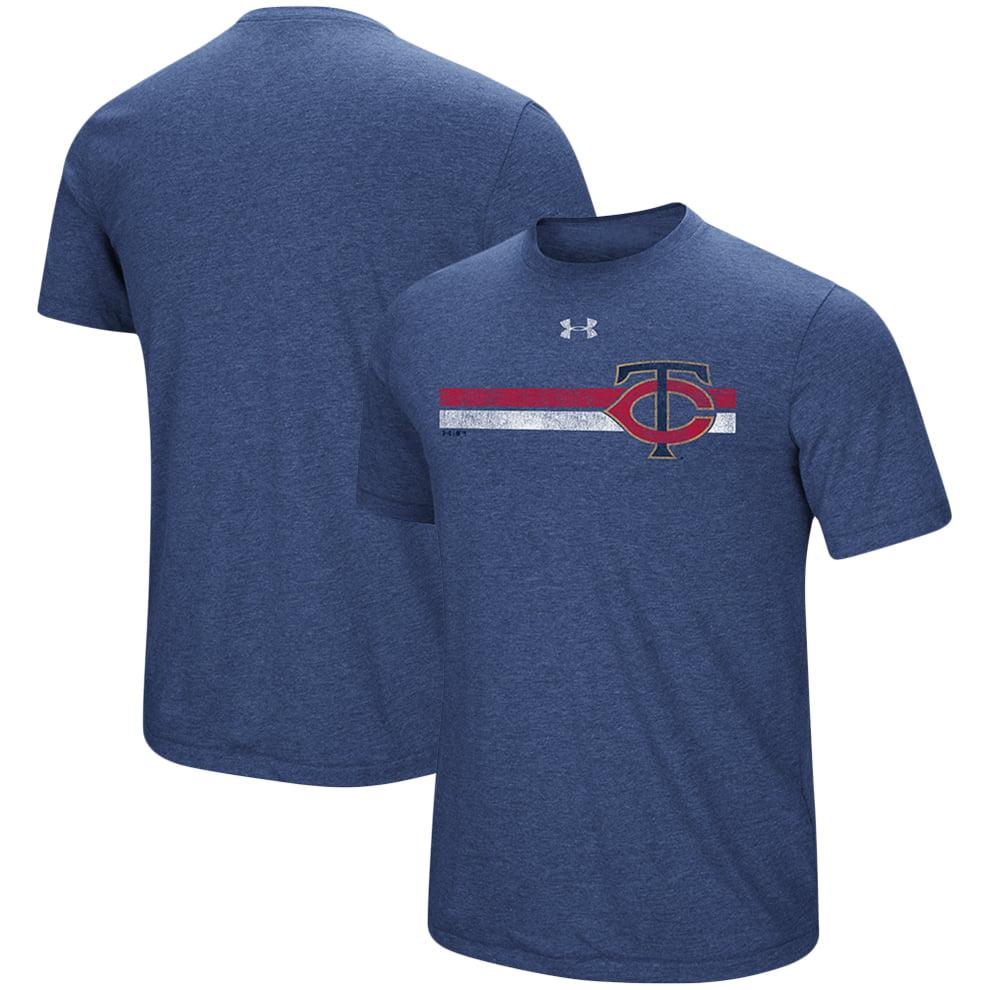Minnesota Twins Under Armour Stripe Logo Tri-Blend T-Shirt - Heathered Navy