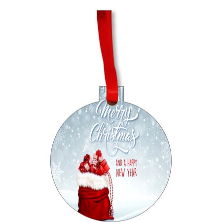 Merry Christmas and a Happy New Year Round Shaped Flat Hardboard Christmas Ornament Tree Decoration - Unique Modern Novelty Tree Décor