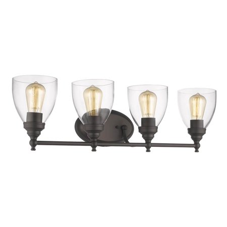"CHLOE Lighting ELISSA Transitional 4 Light Rubbed Bronze Bath Vanity Light Clear Glass 30"" Wide"
