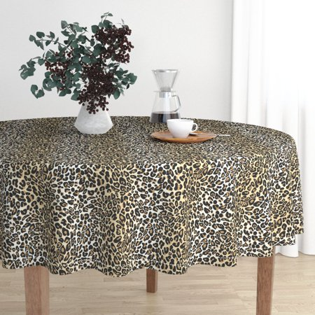Round Tablecloth Spots Animal Print Jungle Leopard Cheetah Animal Cotton Sateen - Animal Print Tablecloth