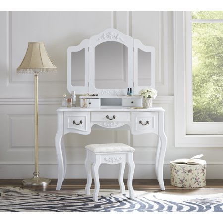 Fineboard Vanity Set Beauty Station Makeup Table and Wooden Stool Set with 3 Mirrors and 5 Organization Drawers Set, White (Makeup Stain)