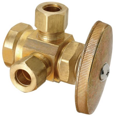 - Brass Craft Service Parts R1701LRX RD Brass Dual Outlet Stop Valve, 1/2 x 3/8 x 3/8-In. - Quantity 1