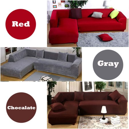 Zimtown Modern L Shape 3+3  Seat Stretch Elastic Fabric Sofa Cover Sectional Corner Couch Covers ()