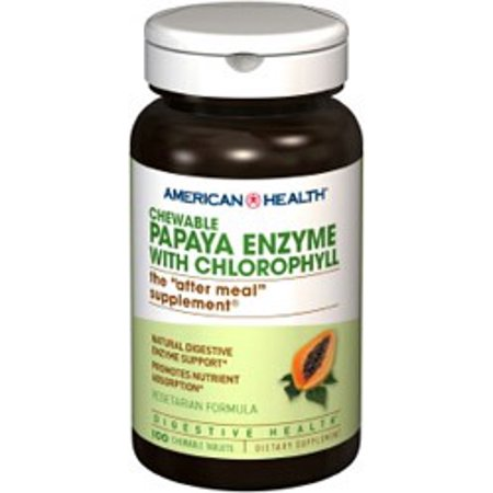Papaya Enzyme With Chlorophyll American Health Products 100 Chewable