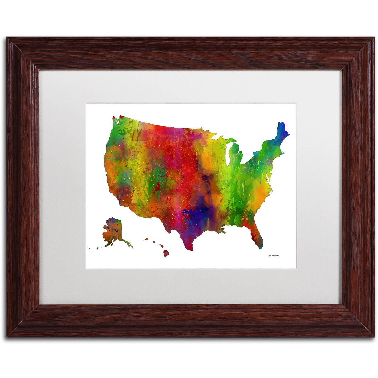 "Trademark Fine Art ""USA Map Clr-1"" Canvas Art by Marlene Watson, White Matte, Wood Frame"