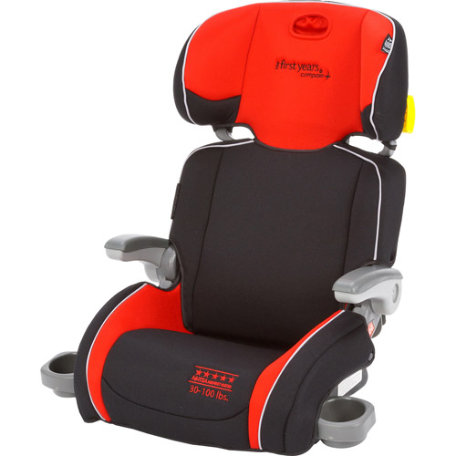 The First Years Compass Folding Adjustable Booster Car Seat, Elegance, Red and Black