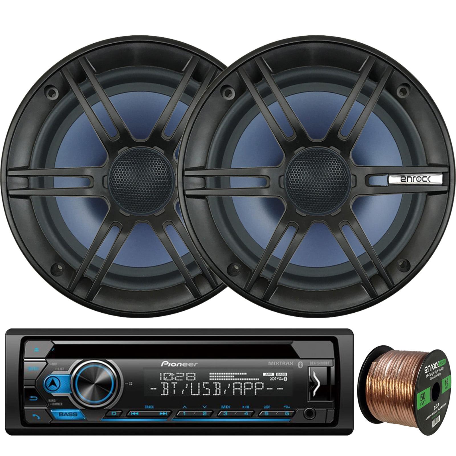 "Pioneer DEH-S4100BT In-Dash Single-DIN CD Player Bluetooth Receiver, 2 x Enrock Audio 6.5"" 2-Way Marine-Grade Coaxial Car/Boat Audio Stereo Speakers, 16-Gauge 50Ft. Speaker Wire"