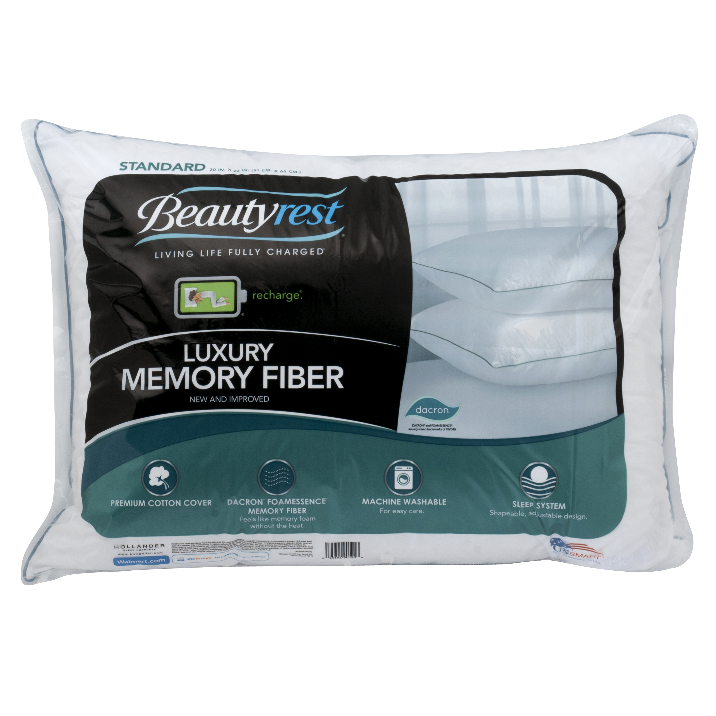 Beautyrest Luxury Memory Fiber Pillow 233TC 100% Cotton in Multiple Sizes