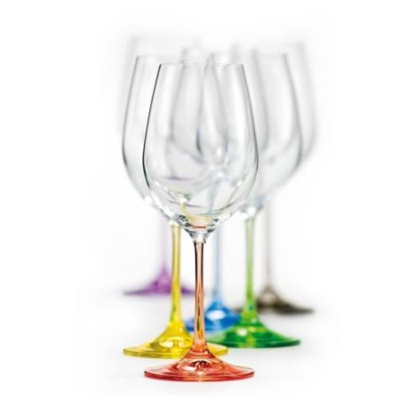 Ceramic Wine Goblets (Bohemian Crystal Set of 6 Wine Stem Goblets - Rainbow Colored Glasses 12 Oz)