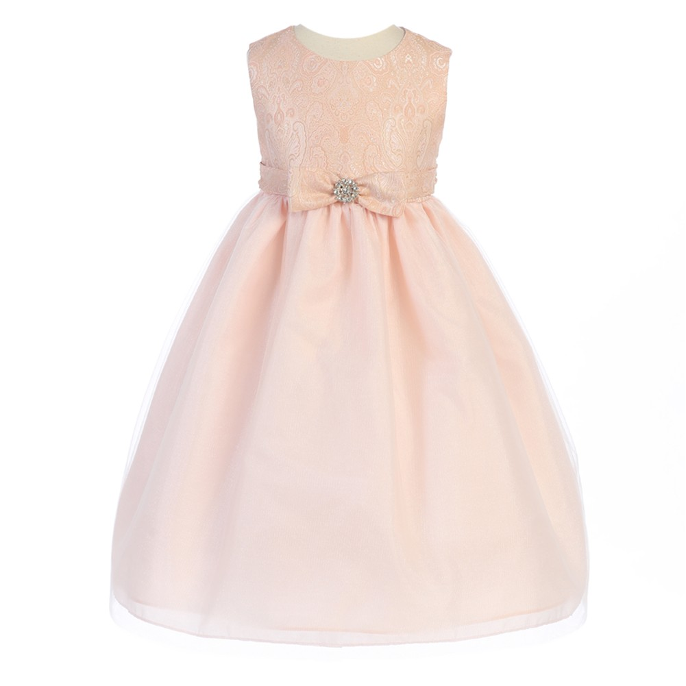 Crayon Kids Little Girls Pink Textured Bodice Bow Adorned...