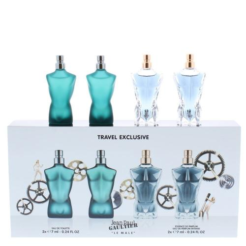 JEAN PAUL GAULTIER 4 PCS MINI SET MEN: LE MALE 2 X 0.24 OZ EDT + ESSENCE DE PARFUM INTENSE 2 X 0.24 OZ EDP